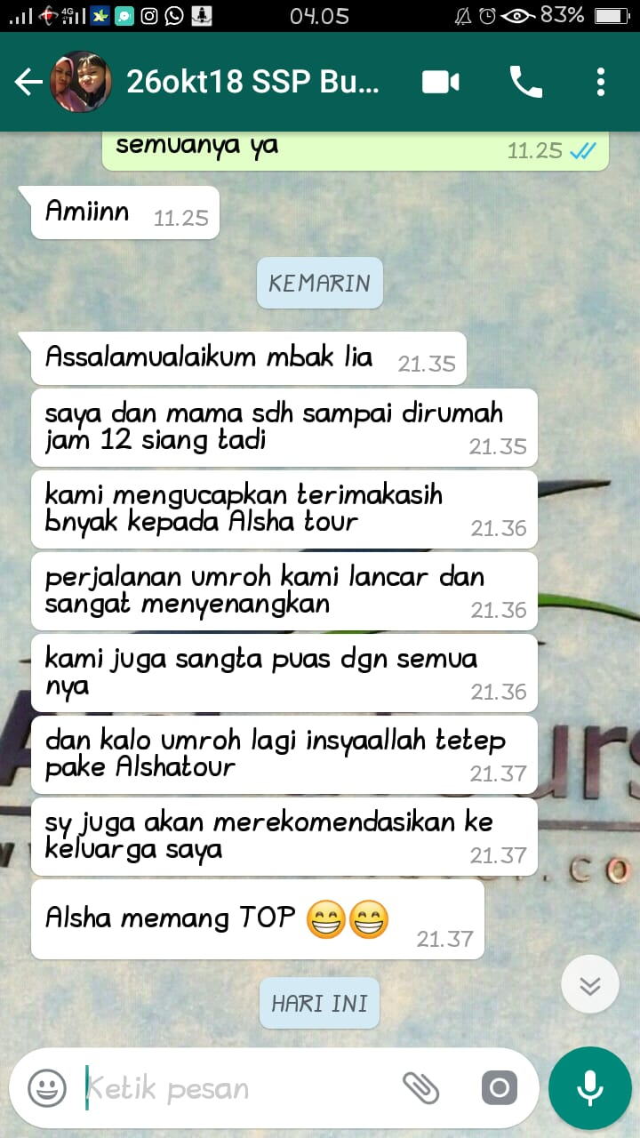 testimoni alsha tours & travel