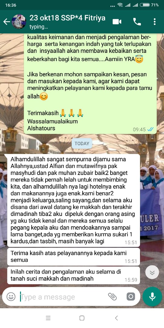 testimoni alsha tour travel